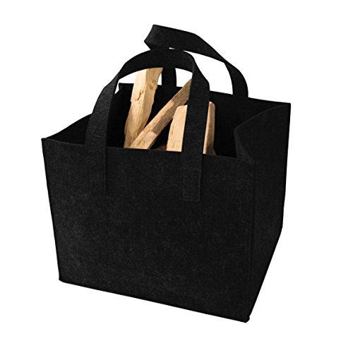 Opbergdoos rechthoekig in vilten look als vilten tas voor haardhout, als mand voor speelgoed, hondenspeelgoed of transportbox - kleur: zwart