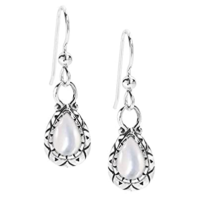 American West Sterling Silver White Mother of Pearl Gemstone Dangle Earrings