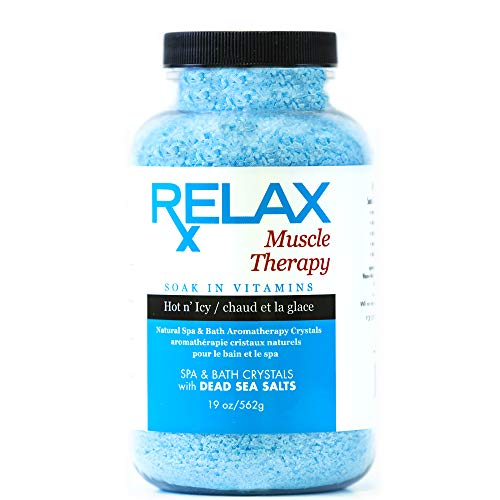 Epsom Salts Muscle Therapy (19 oz) Natural Bath Salts Infused with Vitamins and Minerals for Soaking Aches, Pains, Swelling and Stress Relief- Spa Safe