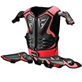 Kids Motorcycle Armor Suit Protective Gear Chest Spine Back Protector Shoulder Arm Elbow Knee Protector Pads for Motocross Racing Skiing ICE Skating Bike Cycling Red