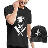 Tengyuntong sunminey Homme T- T-Shirt Polos et Chemises Skull Chef Cooking Skull Hat Grill Master T-Shirts Short Sleeve Denim Hat Mens