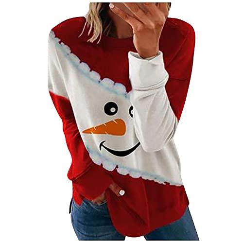pour Sudadera de manga larga para mujer, estilo informal, a la moda, con estampado de calaveras navideñas., rojo, S