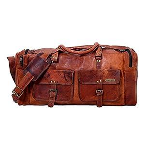 28″Leder handgefertigt Reisegepäck Vintage Übernachtung Wochenende Reisetasche Sporttasche