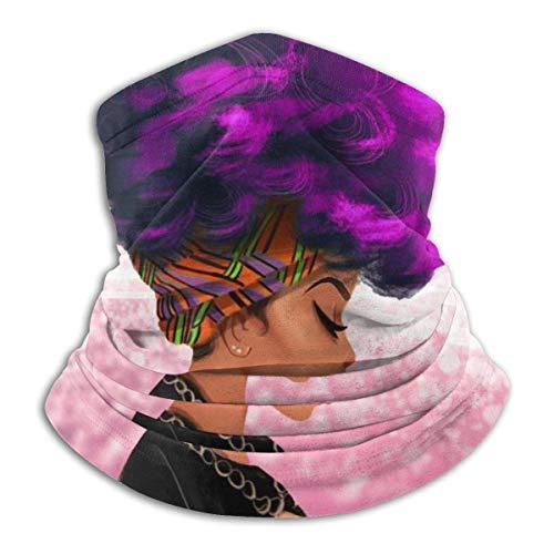 Lzz-Shop paarse haarkleur dames Afrika winter fleece kraag verwarmer gezicht buiten