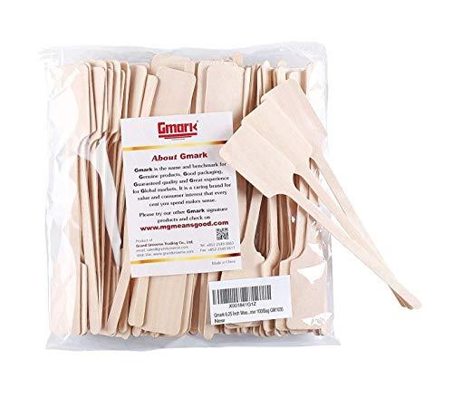 Gmark Green Product 6.25 Inch Wood Kayak Paddle Shape Sticks, Wood Stirrer for Honey, 100/Bag GM1035