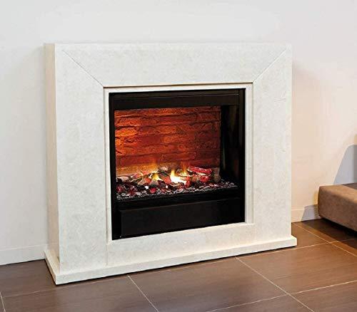 Casa Padrino Kamin mit LED Kamineinsatz Cremeweiß 119,5 x 33,5 x H. 101,5 cm Elektrokamin mit Fernbedienung