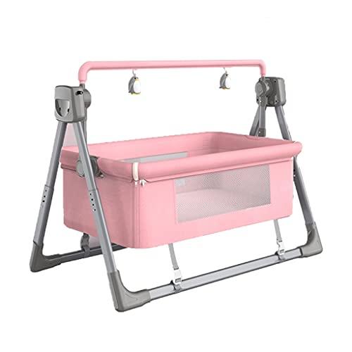 Babysäng, Elvippa, Höjdjusterbar Spjälsäng Med Bekväm Madrass, Bärbar Babyservett Med 82 Cm Sovkorg Och 5 Svänghastigheter (Color : Pink)