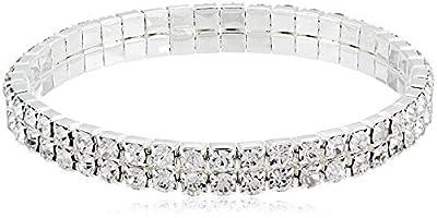 1928 Jewelry Silver-Tone Rhinestone 2 Row Stretch Bracelet