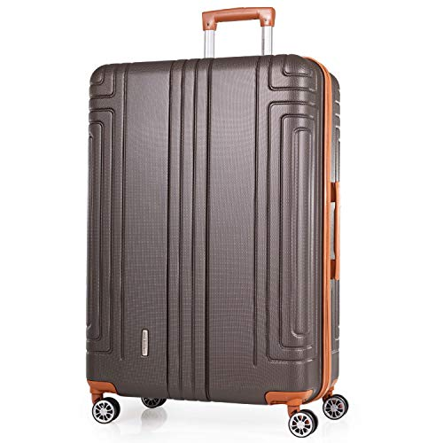 London Fog 30 Inch ABS Hard Sided Suitcase - Lightweight Strong Luggage with 8 Spinner Wheels   Quality Tested Wheels, Handles & Shell   95L Capacity Height 76cm Weight 4.3kg LFL002 (Large, Olive)