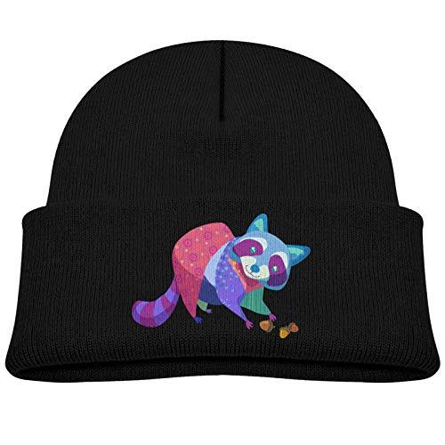 Kids Knitted Beanie Hats,Colorful Raccoon Cat,Skull Cap Winter Hip-hop Hat Headwear for Boys Girls Baby Black