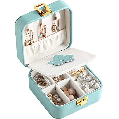 MUY Multi-función Mini Joyero de Cuero Pendientes Anillos Organizador de Soporte con Viaje Portátil Collar en Forma de Tachuelas Caja de Recuerdos Pascua