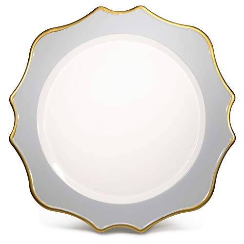 ' OCCASIONS' 10 pcs Round 13'' Round Acrylic Plastic Wedding Chargers, Dinner Party Decoration Charger Plates (Scalloped Gray and Gold)