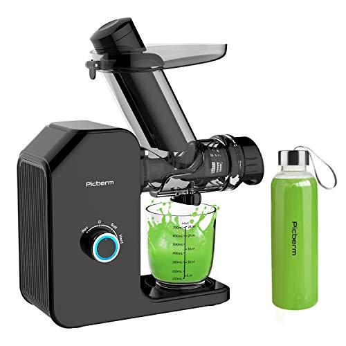 Entsafter Slow Juicer Picberm 75mm Breiter Einfüllschacht Entsafter Gemüse und Obst Saftpresse BPA-frei Orangensaft Press mit Ruhiger Motor und Umkehrfunktion Inkl. Bürste und Flasche, Schwarz