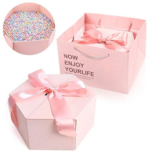 Geschenkbox,Geschenkverpackung Box,Süße Geschenkboxen,Geschenkverpackungen aus Karton mit Deckeln,Geschenk-Karton,Geschenkverpackungen,Papier Geschenkbox Set,Geschenkbox mit Schleife(Rosa)
