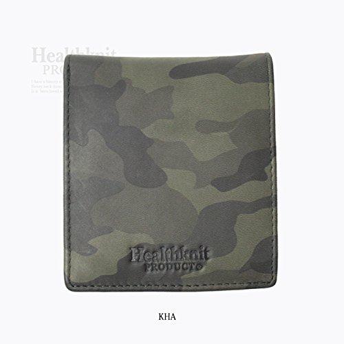 [ヘルスニット] 財布 メンズ 二つ折り ブランド カードがたくさん入る 薄い レディース ヘルスニット カーキ Free