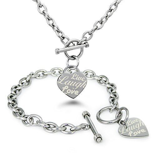 Tioneer Stainless Steel Live Laugh Love Engraved Heart Tag Charm (Bracelet & Necklace Set)