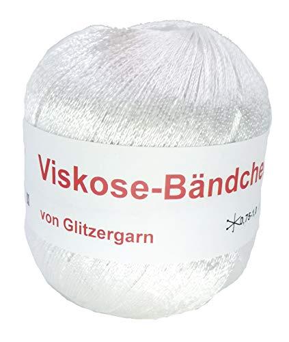 feines Bändchengarn aus Viskose in der Farbe Weiß - 50 Gramm Knäuel