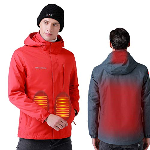 JXJ Termostato Inteligente al Aire Libre con calefacción de Invierno Ropa con Capucha con calefacción USB Chaquetas calefactoras Calientes Impermeables para Acampar Esquí, Rojo, XXXXL