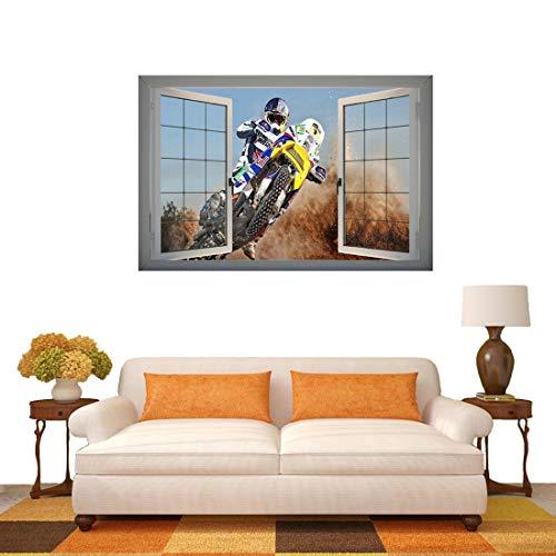 Hmg Etiqueta engomada extraíble del Arte de la Pared de 3D Racing Racing View, tamaño: 66 x 98 x 0.3 cm