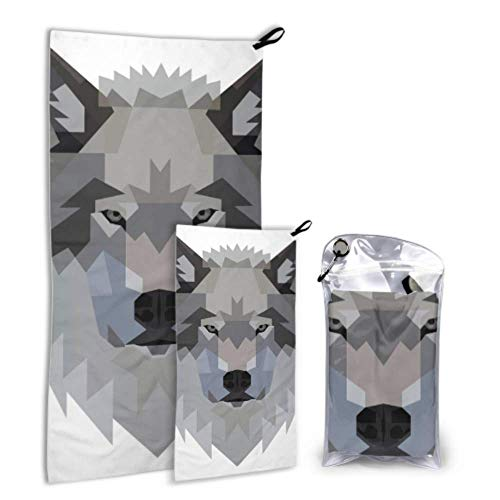 N\A Wolf Sharp Eyes Ferocious 2 Pack Microfiber Soft Towel Adult Beach Serviettes Set Fast Drying Best for Gym Travel Backpacking Yoga Fitnes