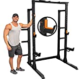 GRIND Fitness Chaos 4000 Power Rack, Exercise Squat Rack with Pull-Up Bar, Weight Storage and Barbell Storage, Spotter Arms and Rubber Padded J-Cups
