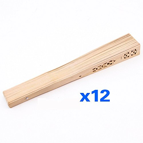 TOOGOO(R) Abanico de mano tallado de madera de bambu plegado vintage de...
