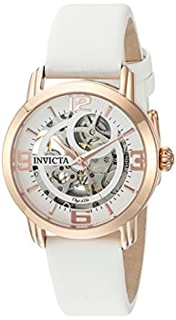 Invicta Women s Objet D Art 36mm Rose Gold Tone Stainless Steel Automatic Watch with Satin Band White/Rose Gold  Model  22655
