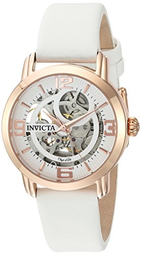 Invicta Women's Objet D'Art 36mm Rose Gold Tone Stainless Steel Automatic Watch with Satin Band, White/Rose Gold (Model: 22655)