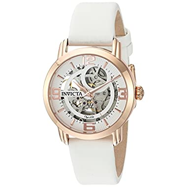 Invicta Women's Objet D'Art 36mm Rose Gold Tone Stainless Steel Automatic Watch with Satin Band, White/Rose Gold, Black…
