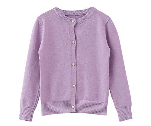 ZHUANNIAN Mädchen Strickjacke Baby Kinder Trachtenjacke Cardigan 128(7-8Jahren) Violett
