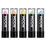 Moon Glow - Rossetto Neon UV 4.5g Pastello Set di 5 colori  – produce un'incredibile brillantezza sotto l'illuminazione UV/luci scure
