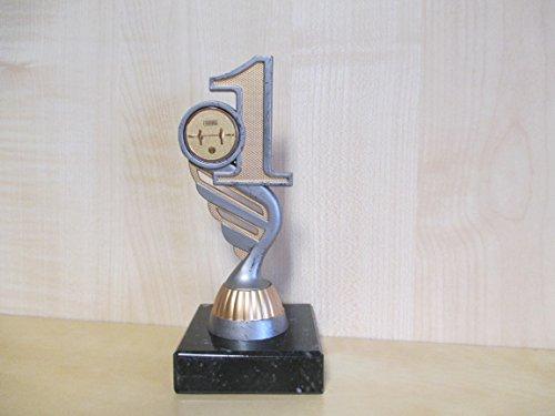Fanshop Lünen Kicker - Figur - Resin 15 cm - Pokal - 1. Platz - Turnier - Kinder - Sporttrophäe - Trophäe - Geburtstag - Tischfußball - mit Emblem 25mm - Fußball