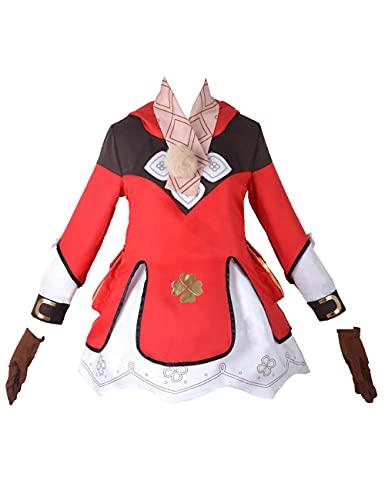 Genshin Impact Klee Disfraz de cosplay para mujer, lindo vestido de Lolita Halloween Navidad Cosplay conjunto completo para nias-Rojo_XL