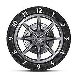 LNHJZ Wheel Tire Wall Clocks,Auto Car Vintage Tire Wheel Wall Clock,Car Service Repair Garage Cool Mechanic Wall Clock for Car Workshop, Suitable as Home Decoration