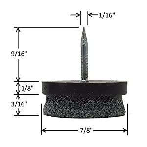 """D.H.S. 7/8"""" Dia. Heavy Duty Felt Nail-on Slider Glide Pads for Chairs, Stools, & Tables - Furniture Slides Like Magic -Tile & Hard Wood Floor Protector - Espresso - 32 pcs."""