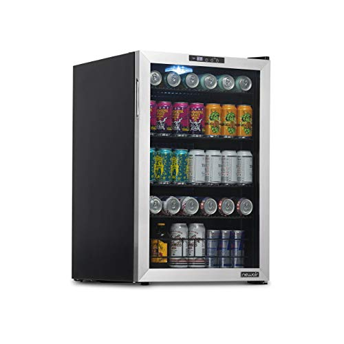 NewAir Beverage Refrigerator And Cooler, Free Standing Glass Door Refrigerator Holds Up To 160 Cans, Cools Down To 37 Degrees Perfect Beverage Organizer For Beer, Wine, And Cooler Drinks NBC160SS00