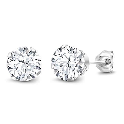Gem Stone King 925 Sterling Silver White Cubic Zirconia CZ Stud Earrings...