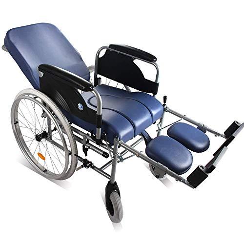 QNJM Leichter Faltbarer Rollstuhl, Selbstfahrender Tragbarer Rollstuhl Mit Bremsen Und Fußstützen, Armlehne Für Ältere Menschen