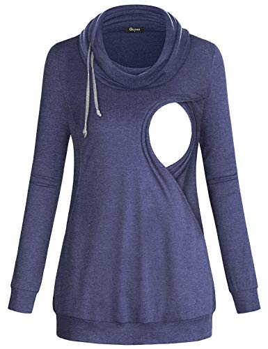 Quinee Breastfeeding Hoodie, Womens Cowl Neck Nursing Tops for Women Casual Plain Shirt Pullover Knitted Cute Loose Fit Maternity Sweatshirt Fashion Tunic Activewear Blue S