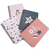 Cahier à Spirale Ligné 160 Pages(A5) - Carnet à Spirale - Petit et Facile à Transporter - Notes - Couverture étanche - Notebooks a5 - Lot de 4