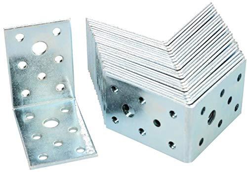 KOTARBAU Winkelverbinder 60 x 60 x 40 mm Stahl Bauwinkel Montagelöcher Möbelwinkel Verzinkt Schwerlast Holzverbinder Montagewinkel Stuhlwinkel (25)