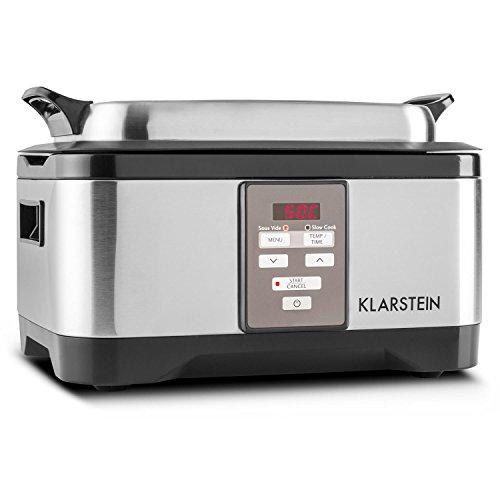 Klarstein Tastemaker Olla de cocción al vacío (6 Litros con tapa, Tiempo 1-24 h, Sous-vide lenta 550 W, 40-90 ° C, acero inox.) plateado