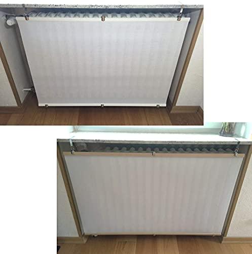 Originelle und einzigartige Heizkörperverkleidung Weiß für Heizkörper unter Fensterbänken (Nische) oder Ablagen. Aus wärmedurchlässigem Material und Naturholz. Bereits ZUSAMMENGEBAUT.