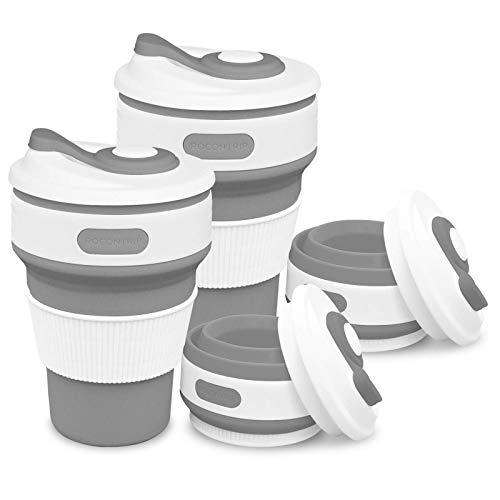 ROCONTRIP Faltbare Tasse, Silikon Becher Kaffee Camping Tasse Reise Geschenk Becher 350ml 100% Lebensmittelqualität Silikon BPA-frei geeignet für Outdoor-Aktivitäten Camping Wandern (Grau+Grau)