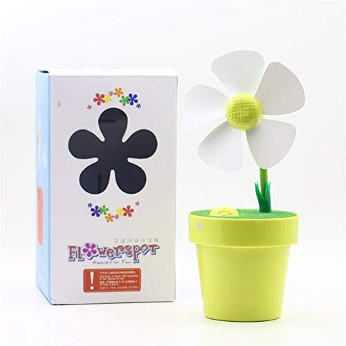 XIAOF-FEN Ventilador de mesa de carga con diseño de flor de sol, ventilador eléctrico de 5 hojas, ventilador USB