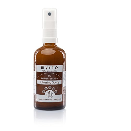 myrto – Bio Finisher Glossing Spray - Leave-in Conditioner mit Hitzeschutz | Glanz-Föhnspray -Anti Frizz - ohne Silikone - vegan -Naturkosmetik - Braunglas -100 ml