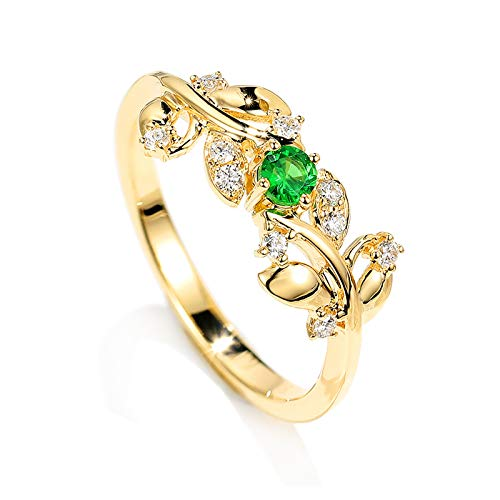 AueDsa Ring Gold Rings for Women Gold 18K Leaf Ring with Tsavorite and Diamond Ring Size P 1/2