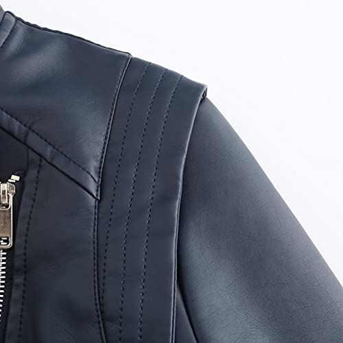Abrigos Mujer Rebajas Cazadora Mujer Polipiel Corto Delgado Estilo Chaqueta Cuero Negra Mujer Cazadora Biker Mujer Chaqueta de Cuero para Mujer Azul Marino S/M/L/XL/XXL