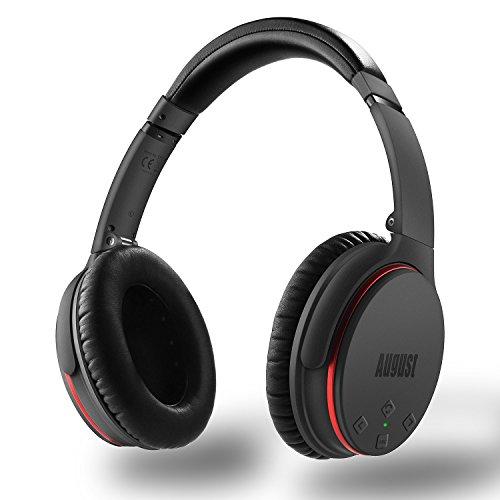 Active Noise Cancelling Kopfhörer mit Bluetooth v4.1 - August EP735 - Aktive Geräusch-Unterdrückung Over-Ear (Multipoint, Mikrofon, Fernsteuerungstasten, bis zu 18h Akku)