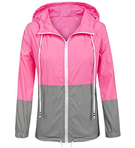 UNibelle - Chaqueta con capucha para mujer, impermeable, ligera, cortavientos al aire libre, con capucha S-XXL A-rose Rouge M